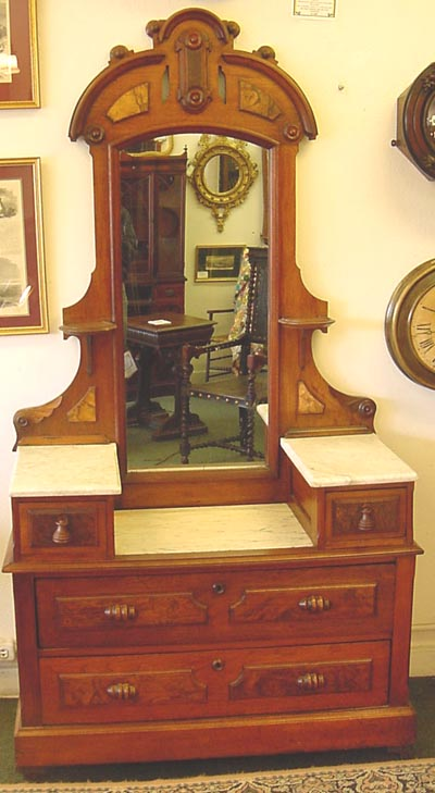 VICTORIAN WALNUT AND MARBLE DRESSER WITH MIRROR Antique Timepieces Clock Re