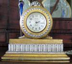 SESSIONS RARE SILVER & GOLD WOOD DESK CLOCK