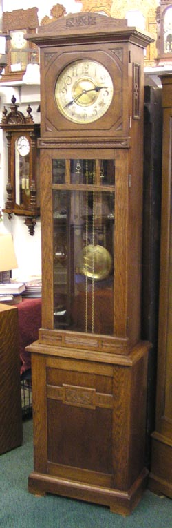 Mission arts craft 1905 grandfather clock antique for Arts and crafts clocks for sale