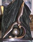 ART DECO BRONZE SEA BIRD  OVER  WAVE BALL MANTEL CLOCK