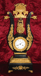 ANTIQUE 1850'S FRENCH EBONIZED DORE' LYRE MANTEL CLOCK