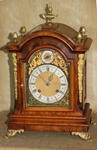 BURLED WALNUT  TING-TANG  BRACKET MANTEL CLOCK
